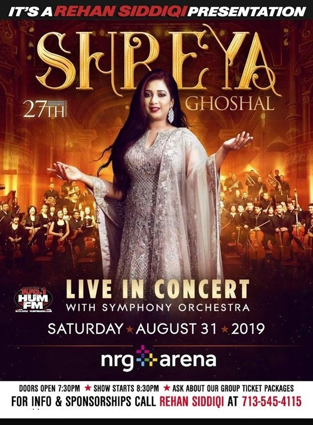 Community Events 20/Jul/2019 6:00 PM Shreya Ghoshal Live